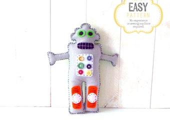 Robot Sewing Pattern, Felt Robot Pattern, Robot Hand Sewing Pattern, Plush Robot Pattern, Robot Softie, Robot Plushie