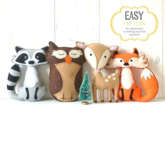 Woodland Stuffed Animal Patterns, Felt Fox Owl Deer Raccoon Plushie ...