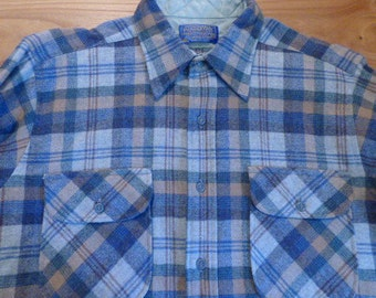 Perfect Vintage Pendleton Pure Wool Blue Shirt- Mens M, Made In The USA