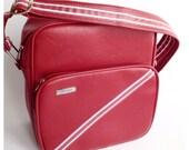 Red Vinyl Leather Samsonite Carry On