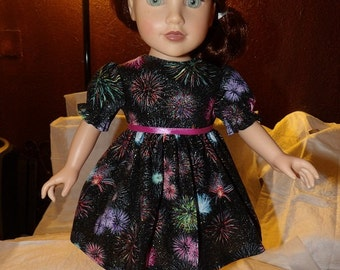 Colorful sparkling firework print party dress for 18 inch Dolls - ag252