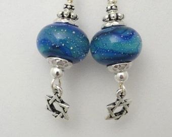 Lampwork Earrings, Star of David, Blue Earrings,  Flamework Beads, Art Bead Earrings, Emerald City Glass, Marcie Page, emcityglass