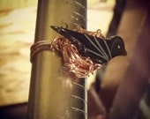 Copper Raven Birds Nest Ring Size 5 Black Bird Art Jewelry Crow Fetish Ring