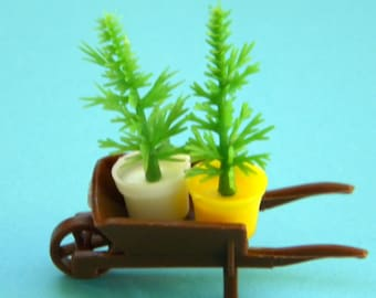 Two Potted Plants in Wheelbarrow Fairy Garden/ Knome/ Pixie/ Miniature/ Dollhouse Decor you pick your color