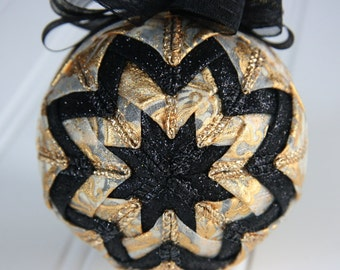 Quilted Christmas Ornament Ball/Gold and Black - Black Gold