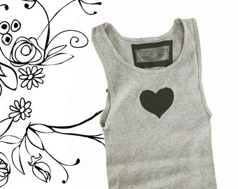 Gray tank top/Heart tee/Sleeveless women love