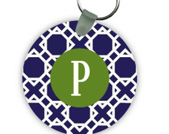 LATTICE keychain with monogram