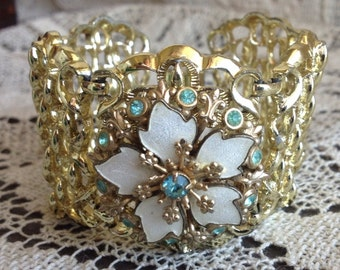 Wide Cuff FILIGREE Bracelet~Aqua Rhinestones ! VINTAGE~One of a Kind