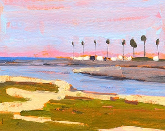 Mission Beach Palm Trees, San Diego Landscape Painting