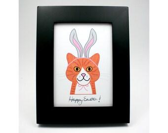 Happy Easter cat print, digital art, cat with bunny ears illustration, orange tiger marmalade cat, chat gato, wall art, gray rabbit ears