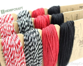 Hemp Twine, Black Red and White Poker Face Color Card, High Quality 1mm Craft Cord