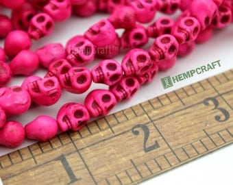 Skull Beads, Tiny Pink Day of the Dead Stone Beads, Halloween Beads, 24pc 9x8mm