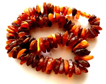 Baltic Amber Raw Chunky Necklace Cognac Unpolished 21.5″ 97.4 gram