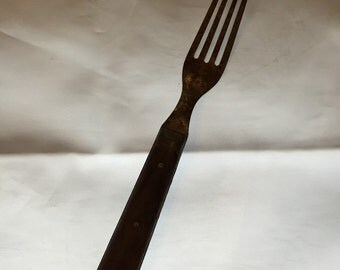 Antique Wood and Metal Fork