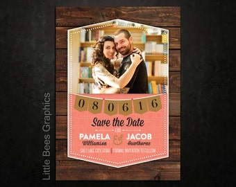 25 Rustic Geometric Save the Date Magnets, Cards, printable digital file customized with your photo -- Free customization in any color