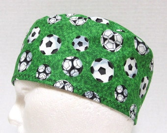 Mens Scrub Cap or Surgical Cap Soccer Balls on Green