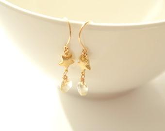 Gold star and lemon quartz earrings G3123
