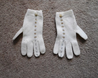 Vintage Knit Gloves Cream with tiny pearls Gray stitching discounted