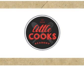 SALE - PreDesigned - One of a Kind - Custom Vector Logo Design  -  LITTLE COOKS Logo - Food Blog Logo - Cafe Restaurant Logo