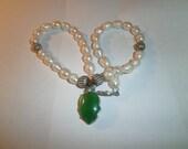 Vintage Necklace Gen Pearls 925 beads genuine Jade circa 1995 Hand-made