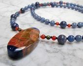 Indigo and Rust Natural Stone and Crystal Third Eye Chakra Balancing Necklace