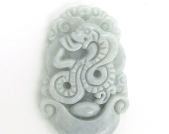 Carved Fortune Zodiac Snake Boa Amulet Pendant Natural Jadeite 35mm*23mm  Cy146