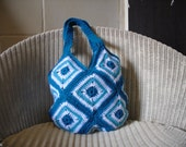 Crochet Bag, Blue Aqua and White Granny Square Handbag FREE UK SHIPPING