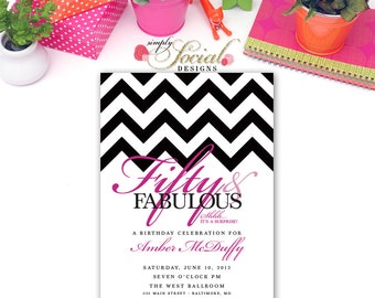 50th Birthday Party Invitation with Chevron Surprise
