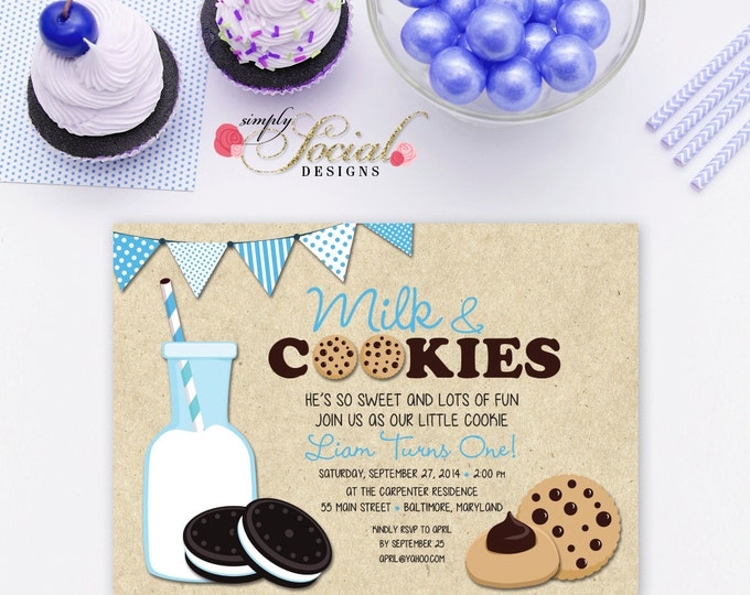 Milk and Cookies Birthday Party Invitation Blue Boy Kids Printable