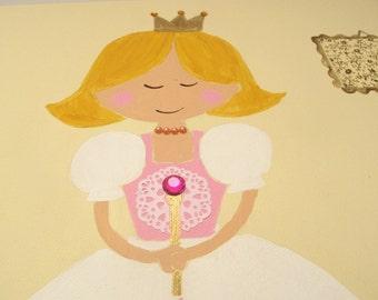Princess wall decor for girls room, princess painting,  girls wall art, princess decor,children art, kids wall art
