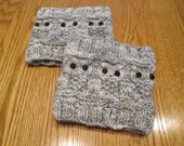 READY TO SHIP Hand Knit Owl Boot Cuffs