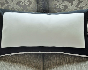 Pillow Cover/ White and black/ with Black Grosgrain Ribbon