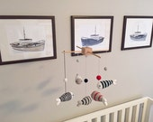 Baby Mobile, Fish Nursery Decor, Crib Baby Mobile, Nursery Mobile, Navy and Silver Nursery, Ocean Mobile, Nautical Nursery