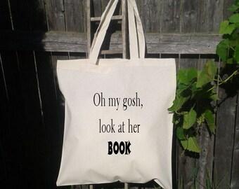 Canvas Book Bag, Oh My Gosh, Look At Her BOOK, Anaconda