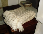 Creamy Crocheted Afghan in Great Vintage Condition 50 by 68 Inches with Lovely Fringe