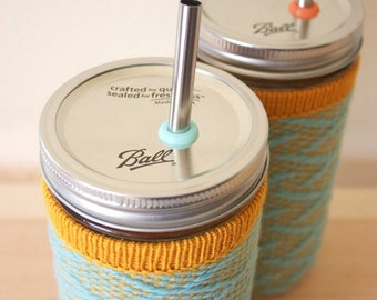 Back to School Mason Jar Tumbler Drinking Glass and Wool Cozy with Stainless Steel Straw - Tropical surf