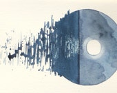 Full moon over the ocean watercolour vignette