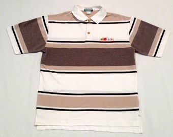 Route 66 Bowling Shirt Vintage 1980s Brown and White Stripe Route 66 Polo Shirt Small Medium Oklahoma City Bowling Alley Collared T shirt