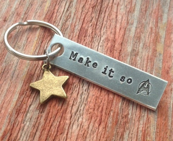 Make It So Handstamped Keychain | Trekkie Gift Guide