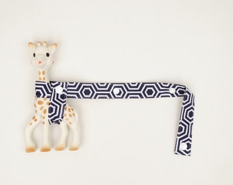 Toy Tether - Navy Blue Geometric with white snaps