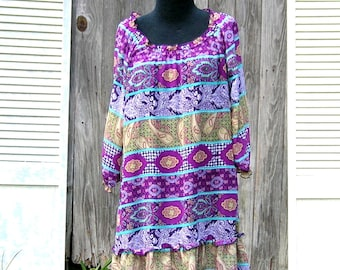 Vintage Purple Bohemian Mini Dress Or Tunic