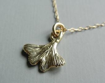 Little Gold Ginko Leaf Necklace