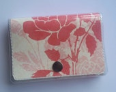 CLEARANCE Trifold Wallet - Rosie/Walla Wallat, roses, floral, pink, cream, elegant, beauty, handmade, card and cash case, vinyl wallet
