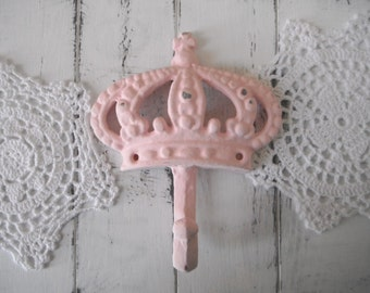 nursery decor clothing hook pink tiara wall hook coat hanger paris apartment cottage chic tiara crown french country distressed hook PINK