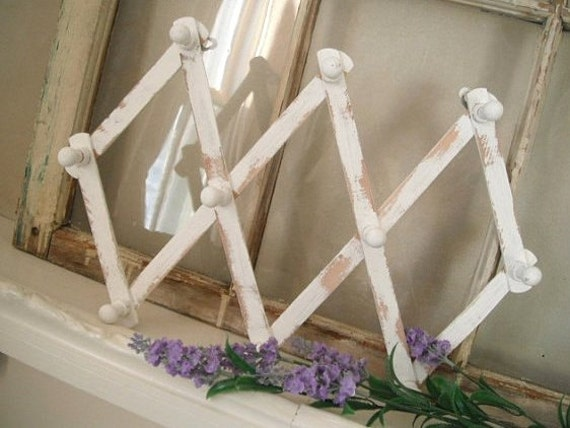 wood peg rack wood hanger distressed accordion rack wooden pegs scarf rack belt rack shabby decor french country peg rack wood MADE TO ORDER