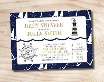 Ahoy It's a Boy, Nautical Baby Shower Invitation - Printable Digital file or Printed Invitations