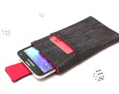 Galaxy S7 edge, S7, S6 edge+, S6 edge, Galaxy A7, A5, A3 sleeve pouch case with magnetic closure dark jeans and red with a pocket