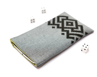 Microsoft Lumia 950, Lumia 950 XL sleeve case cover pouch handmade light jeans and green with black ornament pattern