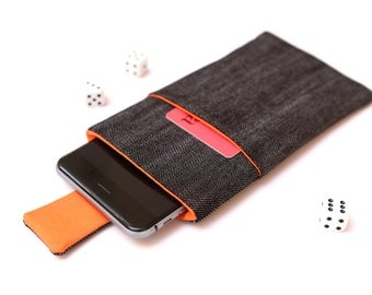 Nokia 6 sleeve, Nokia 5 sleeve case pouch with magnetic closure dark jeans and orange with a pocket