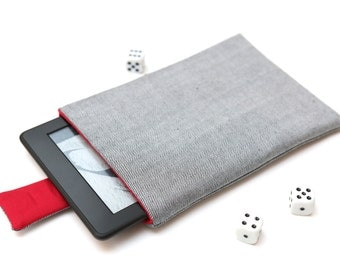 Kindle Fire, Kindle Voyage, Kindle Paperwhite case cover sleeve handmade with magnetic closure light jeans denim and red
